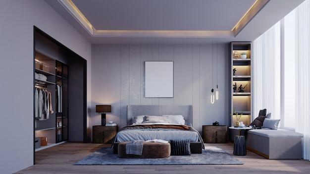 Rendering 3d, illustrazione 3d, scena interna e cornice mockup, camera da letto e spogliatoio in toni di grigio cornice moderna per mobili parete testata scanalata decorativa.
