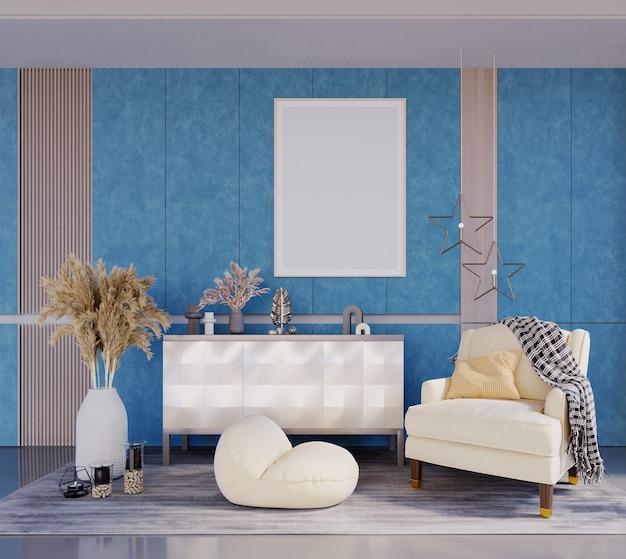 Rendering 3d, illustrazione 3d, scena interna e modello di cornice, soggiorno, parete di carta da parati blu mare mobili bianco crema visualizza una grande cornice sopra lo scaffale.