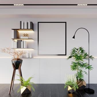 Rendering 3d, illustrazione 3d, scena interna e mockup cornice, mensola a muro, luce led bianca calda, cornice nera, albero frondoso verde, lampada da terra
