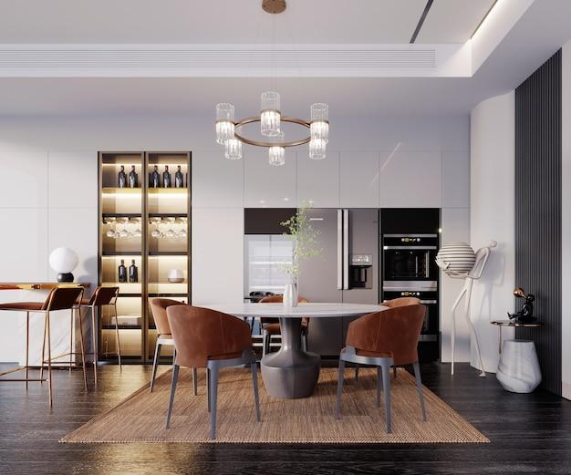 Rendering 3d, illustrazione 3d, scena interna e mockup, sala da pranzo e dispensa in stile moderno di lusso con sorprendenti colori contrastanti, sedie rosse.