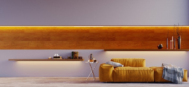 Rendering 3d, illustrazione 3d, scena interna e mockup, parete grigia con divano moderno giallo e applique decorata con pannello in legno
