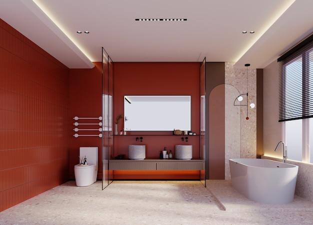 Rendering 3d, illustrazione 3d, scena interna e mockup, bagno a parete arancione con decorazione in pietra.