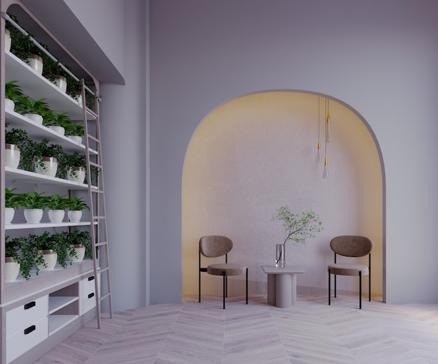 Rendering 3d, illustrazione 3d, scena interna e mockup, parte del muro riproduce uno scaffale angolare con un albero, un muro curvo bianco decorato con una luce sul muro, una sedia marrone.