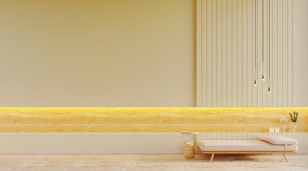 Rendering 3d, illustrazione 3d, scena interna e mockup, parete bianca con 2 poltrone moderne e tavolino da caffè, pannelli decorativi con cornice in legno e plafoniera moderna