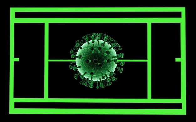 Rendering 3d. illustrazione 3d. il tennis si è fermato. pandemia mondiale di coronavirus. covid19