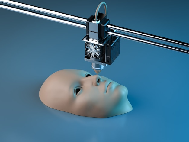 Rendering 3d stampante 3d stampa volto umano