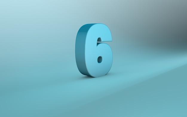 Rendering 3d di 6 numeri 3d lettering sei numeri
