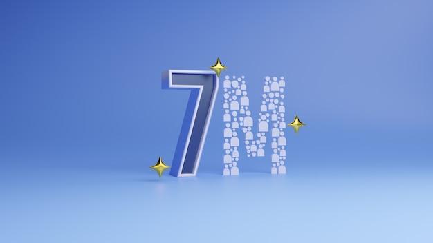 Rendering 3d post per la celebrazione di 7 milioni di follower sui social media