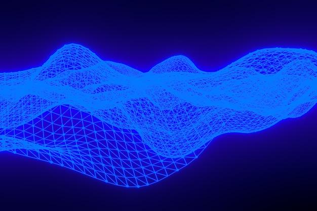 Rendering 3d di paesaggio digitale sfondo astratto con punti di particelle