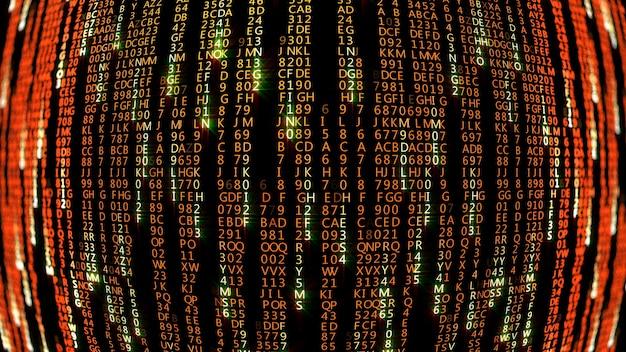 Rendering 3d di blocchi astratti di codice a matrice situati nello spazio virtuale