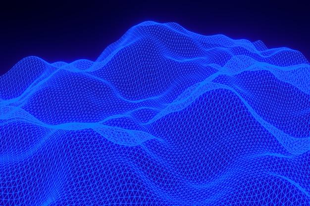 Rappresentazione 3d, paesaggio digitale del fondo blu astratto con i punti delle particelle su fondo nero, poli basso su fondo nero