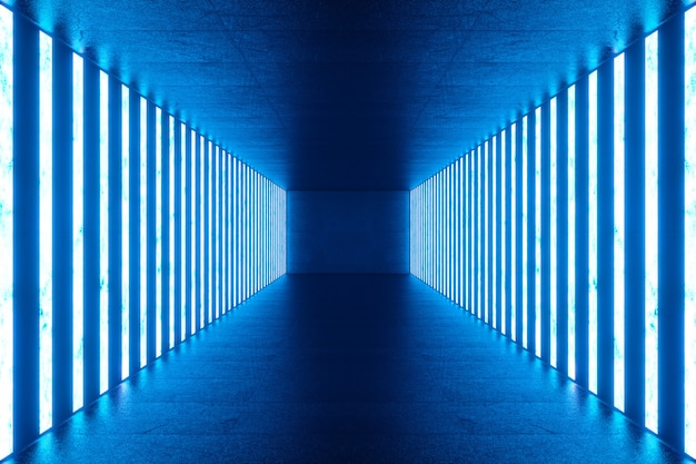 Rendering 3d interno stanza blu astratta con lampade al neon blu. architettura futuristica. mock-up per il tuo progetto.
