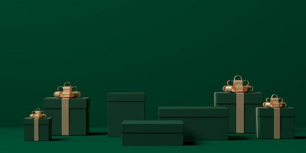 Rendering 3d di composizione astratta per la presentazione del prodotto con scatole regalo
