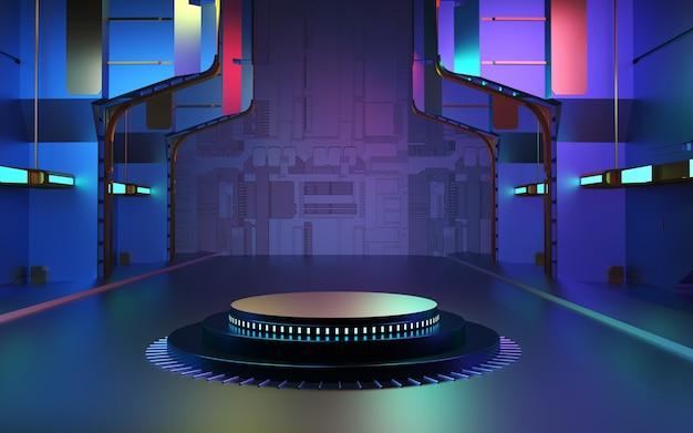 3d rendering astratto sfondo futuristico palco vuoto del podio per la presentazione del prodotto