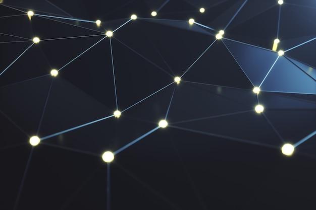 Rendering 3d linee di connessione futuristiche astratte e punti luminosi. tecnologia supercomputer, calcolo del cloud computing. tecnologia digitale ad alta tecnologia