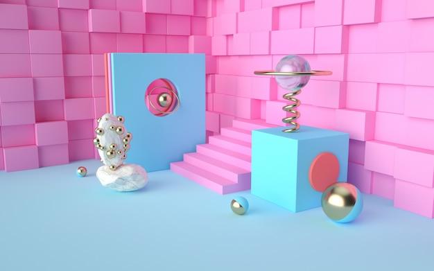 Rendering 3d di rosa geometrica astratta con pareti quadrate