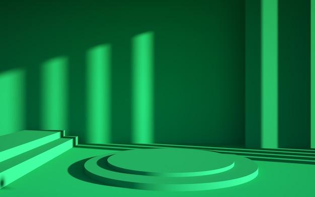 Rendering 3d di scene verdi astratte e podio di forme geometriche