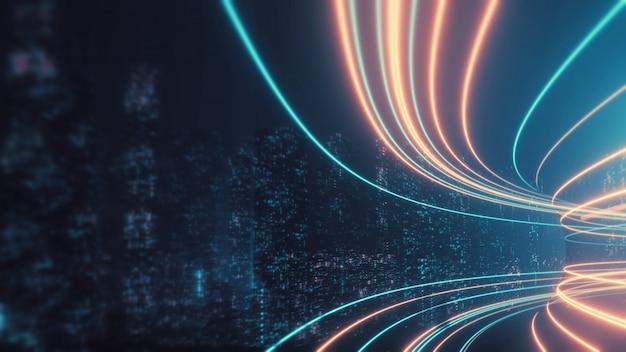 Rappresentazione 3d del percorso astratto della strada principale attraverso le torri binarie digitali in città.