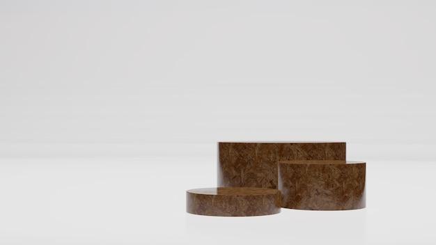 Illustrazione astratta di rendering 3d legno mock up podio di forma geometrica per la progettazione del prodotto