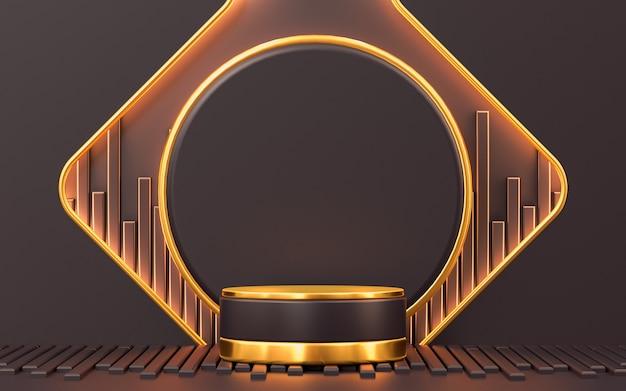 3d che rende lo sfondo del display del podio a forma di oro di lusso astratto per la presentazione del prodotto