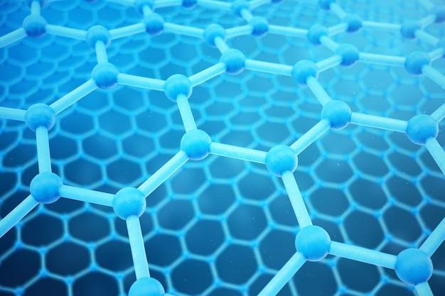 3d che rende primo piano geometrico esagonale della forma di nanotecnologia astratta. concetto di struttura atomica di grafene, struttura in carbonio.