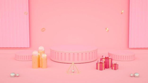 Rendering 3d di sfondo rosa astratto con confezione regalo