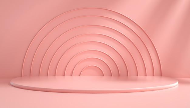 Rendering 3d di sfondo rosa astratto con podio semicircolare per la visualizzazione del prodotto