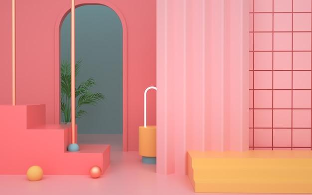 Rendering 3d di sfondo geometrico rosa astratto per la visualizzazione del prodotto