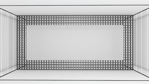 Rendering 3d di forma rettangolare astratta e illuminazione al neon nella stanza