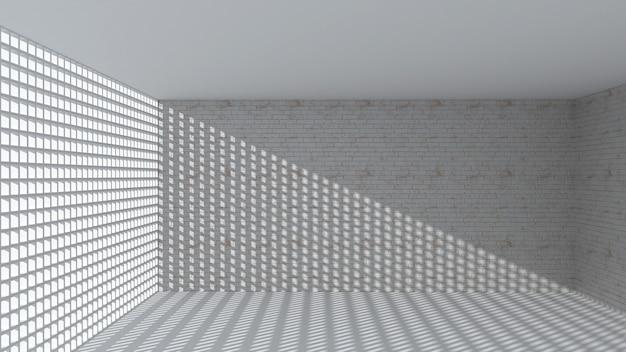 Rendering 3d di forma rettangolare astratta nella stanza