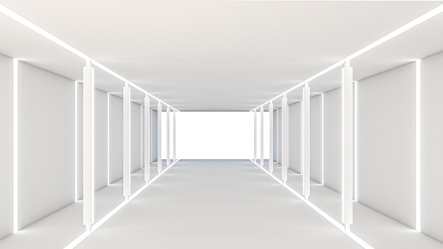 Rendering 3d del tema fantascientifico astratto in stile geometrico, illuminazione astratta nel corridoio