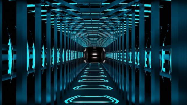 3d rendering spazio astratto sci-fi futuro corridoio corridoio