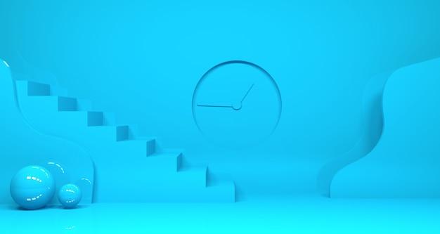 Rappresentazione 3d della forma geometrica astratta di colore blu dell'alzavola