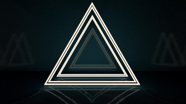 Rendering 3d del triangolo astratto in luce al neon