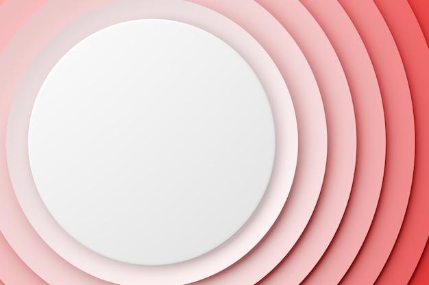 Rendering 3d frattale rotondo bianco e rosa astratto, portale. controllo del volume. spirale rotonda.