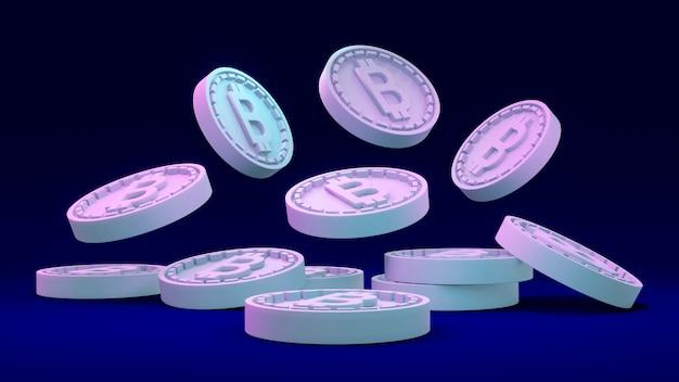 Rendering 3d dell'abbondanza di moneta b in riferimento al bitcoin che cade a terra