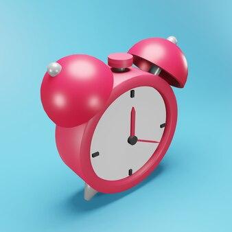 3d rendering sveglia illustrazione su sfondo blu. icona della sveglia 3d isolata. illustrazione isolata della sveglia 3d