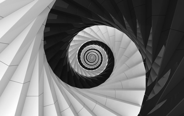Rendering 3d. sfondo di scale a spirale bianche e nere alternative. yin yang di stile orientale.