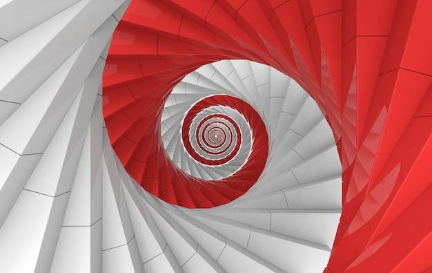 Rendering 3d. priorità bassa della parete di arte di scale a spirale bianche e rosse alternate.