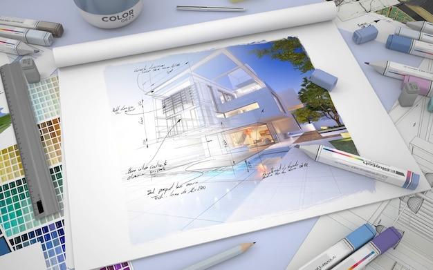 Rendering 3d di un desktop per architetti con rendering di una casa, pennarelli e campioni di colore