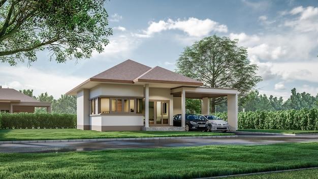 Rendering 3d casa architettonica circondata da vegetazione illustrazione