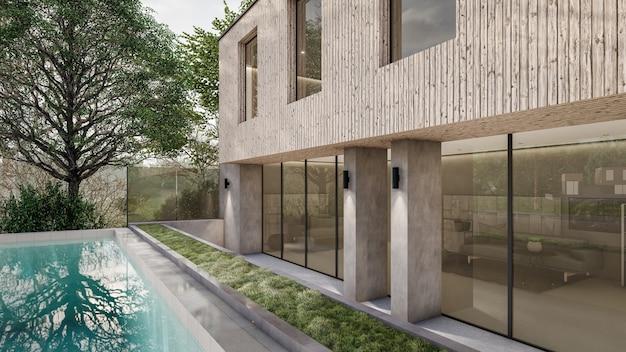 Progettazione architettonica della piscina della casa di rendering 3d