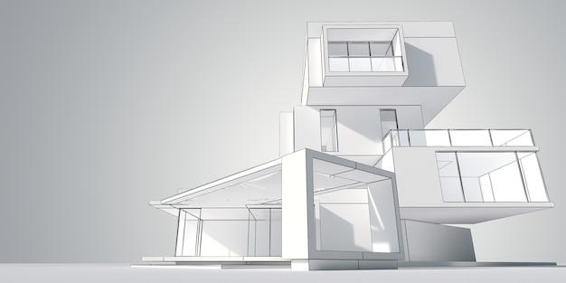 Rendering 3d del modello di architettura di una casa moderna costruita su diversi livelli indipendenti
