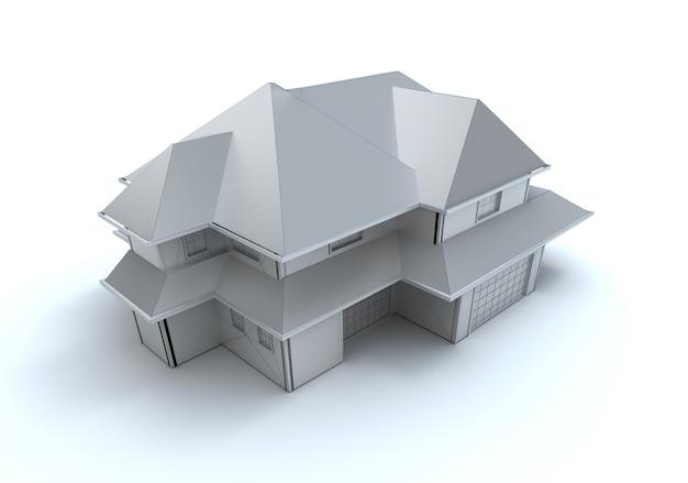 Rendering 3d di un modello di architettura in bianco