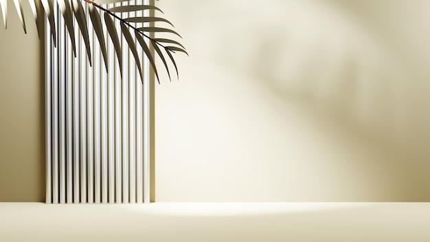 Rendering 3d dell'area per la visualizzazione dei prodotti nei toni del grigio e sullo sfondo dell'ombra delle foglie. per prodotto da esposizione. mockup di vetrina scena vuota.