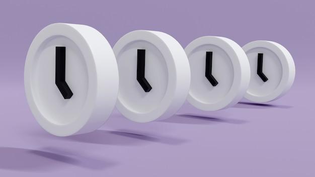 Il rendering 3d ha organizzato gli orologi in fila dritta sul concetto di sfondo della gestione del tempo