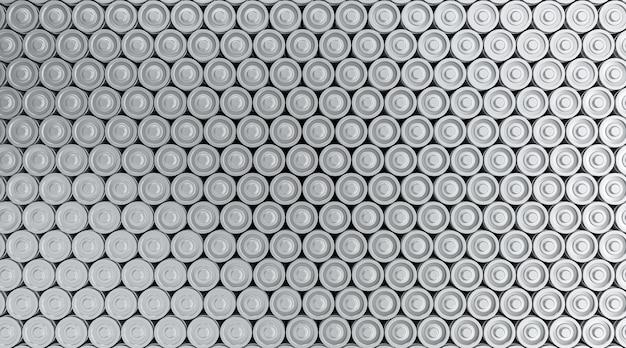 Array di rendering 3d di batterie ricaricabili agli ioni di litio per veicoli elettrici, molti processi di produzione di batterie agli ioni di litio nel settore tecnologico, elevata domanda di concetto di accumulo di energia
