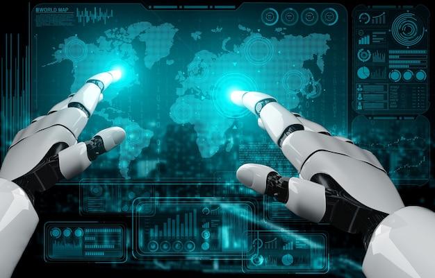 Rendering 3d di intelligenza artificiale ricerca di intelligenza artificiale dello sviluppo di robot e cyborg per il futuro delle persone che vivono. progettazione di tecnologie di data mining digitale e apprendimento automatico per il cervello del computer.