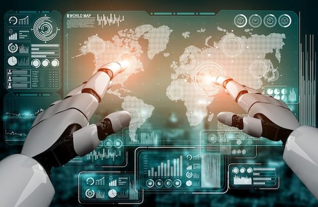 Rendering 3d di intelligenza artificiale ricerca di intelligenza artificiale dello sviluppo di robot e cyborg per il futuro delle persone che vivono