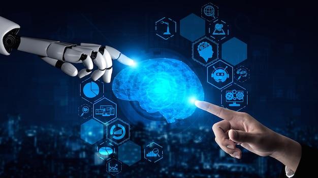 Rendering 3d ricerca di intelligenza artificiale ai di robot
